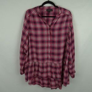Lane Bryant Plaid Flannel Long Sleeve Tunic Top 16